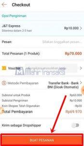 Di bagian ini saya menggunakan metode pembayaran transfer Bank BRI lalu klik Konfirmasi.